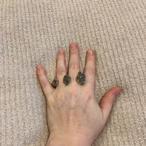 Naomi Gold Double Ring In Platinum Drusy